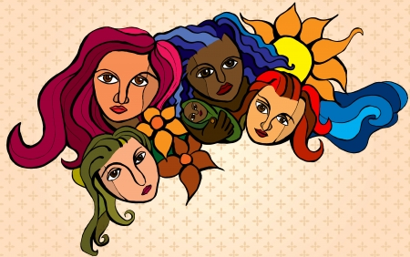 four stylized women, representing solidarity and hope Фото со стока - 24516117