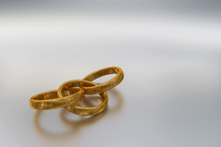 fidelity: 3d illustration of three interlaced god rings