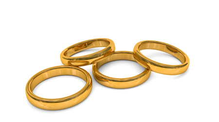 fidelity: 3d illustration of four god rings, isolated Stock Photo