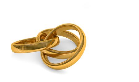 3d illustration of three interlaced god rings