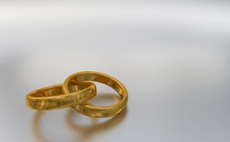 3d illustration of two interlaced god rings