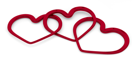 entwined: illustration of three entwined hearts on white background