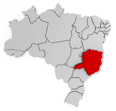 especially: 3d map of Brazil, with the separate states, infographic, especially in minas gerais