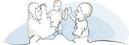 socialization: Three children playing Illustration