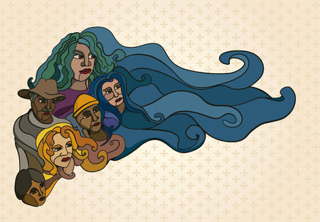 compassionate: Illustration of stylized people, his hair turning into sky