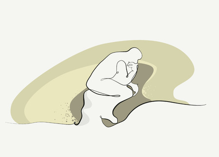 humanism: design of the statue the thinker Illustration