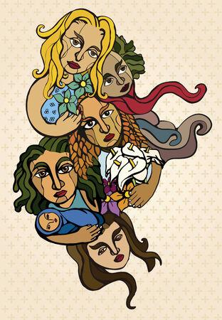se�oras: Cinco mujeres estilizadas, que representan la solidaridad y la esperanza Vectores