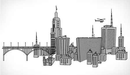 Fun vector illustration of several famous building of the city of St  Paul  Sao paulo
