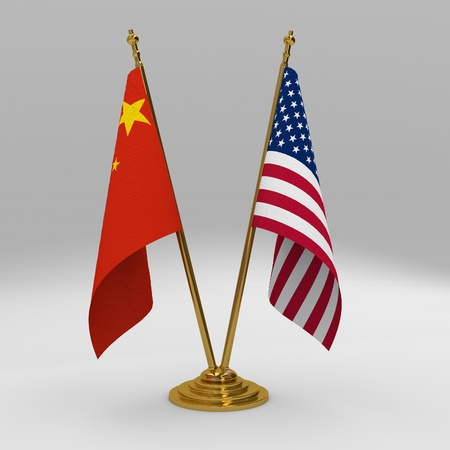 imperialism: Double table flag, partnership united states of america and china Stock Photo