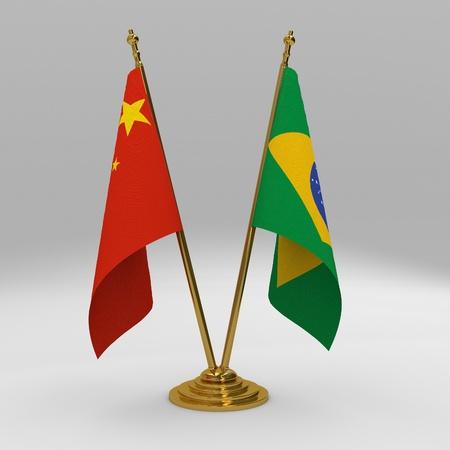 brics: two table flag, partnership Brazil and china Stock Photo