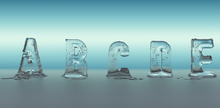 bubble water: alphabet made of ice melting, transparent figures with blue background