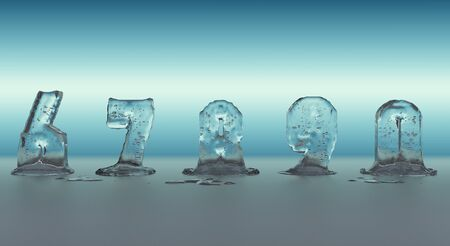 liquefied: nunbers made of ice melting, transparent figures with blue background Stock Photo