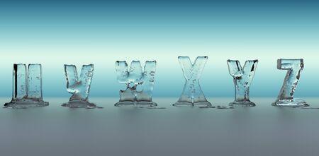 melting: alphabet made of ice melting, transparent figures with blue background