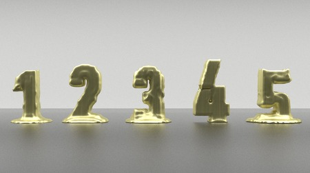 liquefied: Signs golden made with melting gold Stock Photo