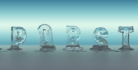 liquefied: alphabet made of ice melting, transparent figures with blue background