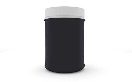 Realistic black packaging rounded for sports nutrition and supplementary feeding Stock Photo
