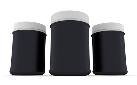 three black Realistic packaging rounded for sports nutrition and supplementary feeding