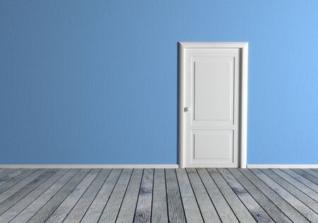 white wood floor: Front view of a room with blue wall and a white door. gray Wood floor Stock Photo