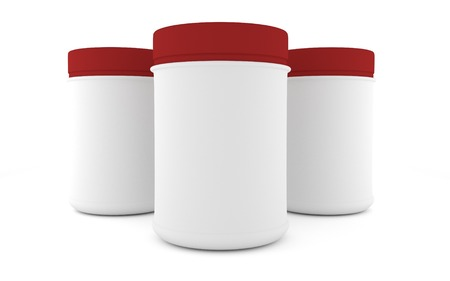 three Realistic packaging rounded for sports nutrition and supplementary feeding