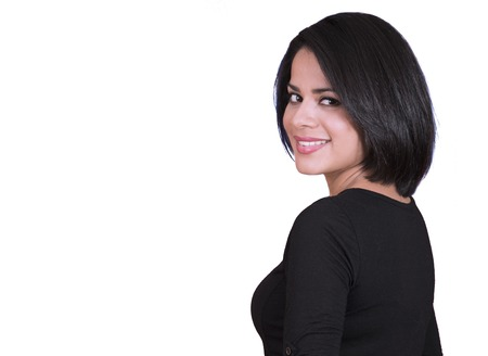 Salvadorean woman smiling isolated over a red background