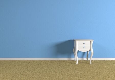 bedside table: Front view of a room with blue wall and a white cute bedside table. Carpeted floor