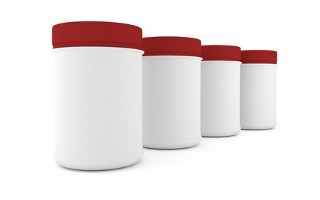 parenteral: Realistic four rounded packaging for sports nutrition and supplementary feeding