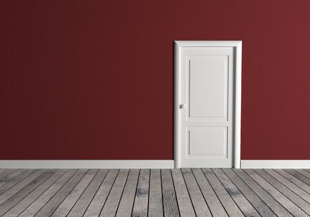 white wood floor: Front view of a room with red wall and a white door. Wood floor Stock Photo