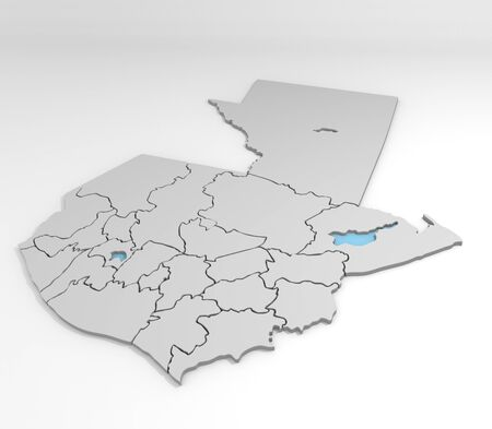 districts: 3d maps of districts of guatemala Stock Photo
