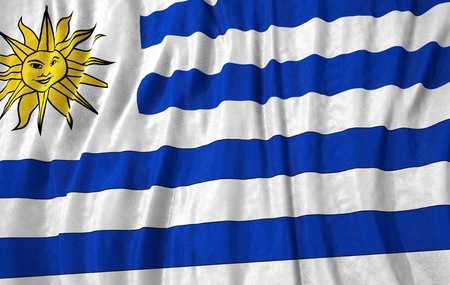 uruguay: Corrugated uruguay closeup flag 3D illustration