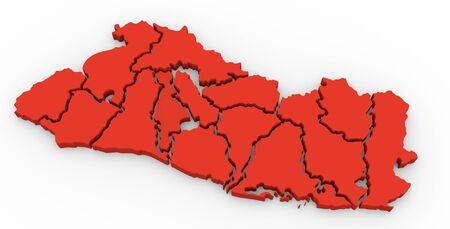 mapa de el salvador: Correspondencia 3d de El Salvador, con el separada departamentos, estados, infografía