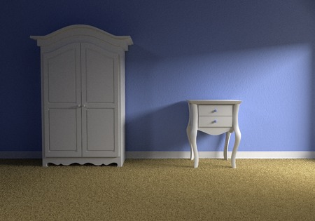 baby wardrobe: Front view of the empty blue baby room with a bedside table and wardrobe kids