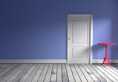white wood floor: Front view of a empty room with blue wall, gray wood floor a pink table and a white door
