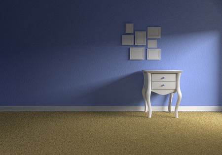 bedside table: Front view of a empty blue baby room with a white bedside table and several empty picture frames Stock Photo