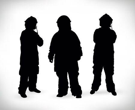 fireman: three fireman silhouette Stock Photo