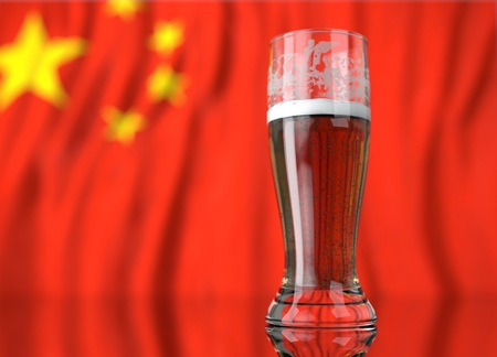 a realistic glass of beer in front a chinese flag. 3D illustration rendering.