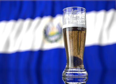 mara: a realistic glass of beer in front a salvadoran flag. 3D illustration rendering.