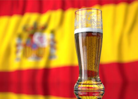 a realistic glass of beer in front a spanish flag. 3D illustration rendering.