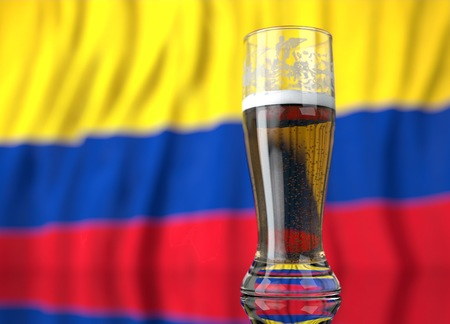 colombian flag: a realistic glass of beer in front a colombian flag. 3D illustration rendering.