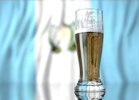 a realistic glass of beer in front a guatemalan flag. 3D illustration rendering.