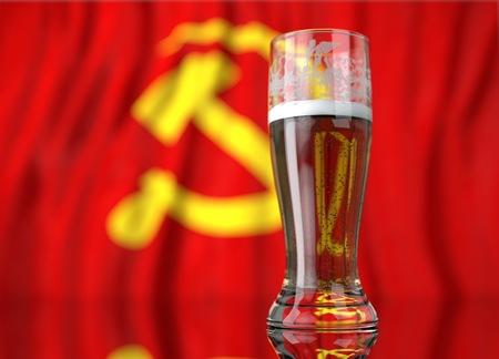 soviet flag: a realistic glass of beer in front a communist flag. 3D illustration rendering.