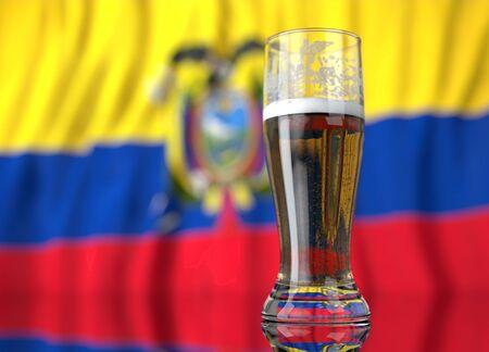 ecuadorian: a realistic glass of beer in front a Ecuadorian flag. 3D illustration rendering.