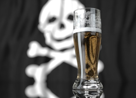 3d realistic illustration of a glass of beer in front of a blurred pirate flag