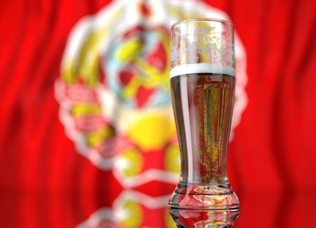 soviet union: 3d realistic illustration of a glass of beer in front of a blurred Soviet Union flag Stock Photo