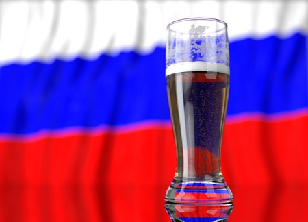 3d realistic illustration of a glass of beer in front of a blurred russian flag Stock Photo