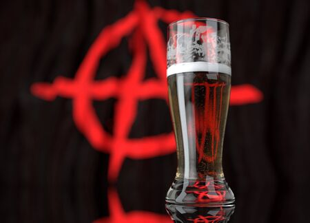 3d realistic illustration of a glass of beer in front of a blurred anarchist flag