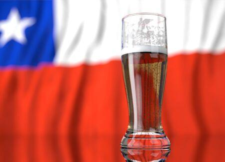 bandera chilena: un vaso de cerveza realista frente a una bandera chilena. Ilustración de la representación 3D.