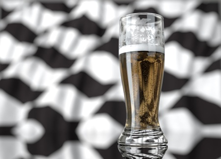 3d realistic illustration of a glass of beer in front of a blurred sao paulo sidewalk flag