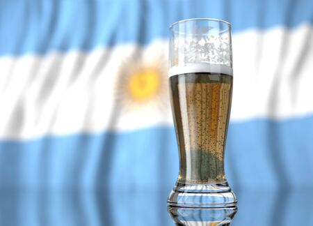 3d realistic illustration of a glass of beer in front of a blurred Argentine flag