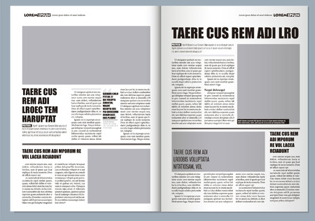 Traditional Graphical design Template newspaper, gray colors and A3 format