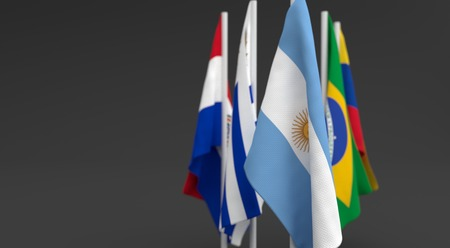 illustration 3d render, Flags of the five countries of the Mercosul economic bloc, with the leadership of argentina Фото со стока